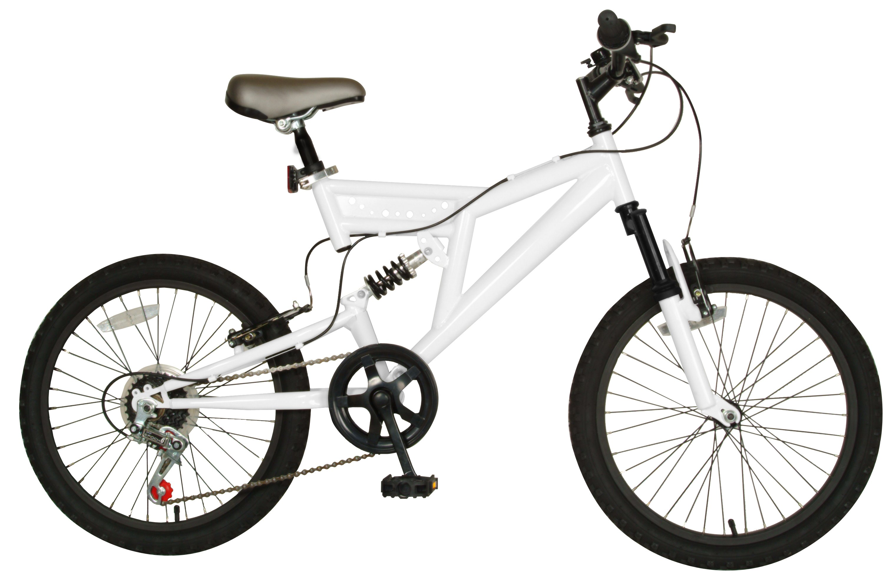 Cycle Force 20 Dual Suspension 7 Speed Kids Mountain Bike White