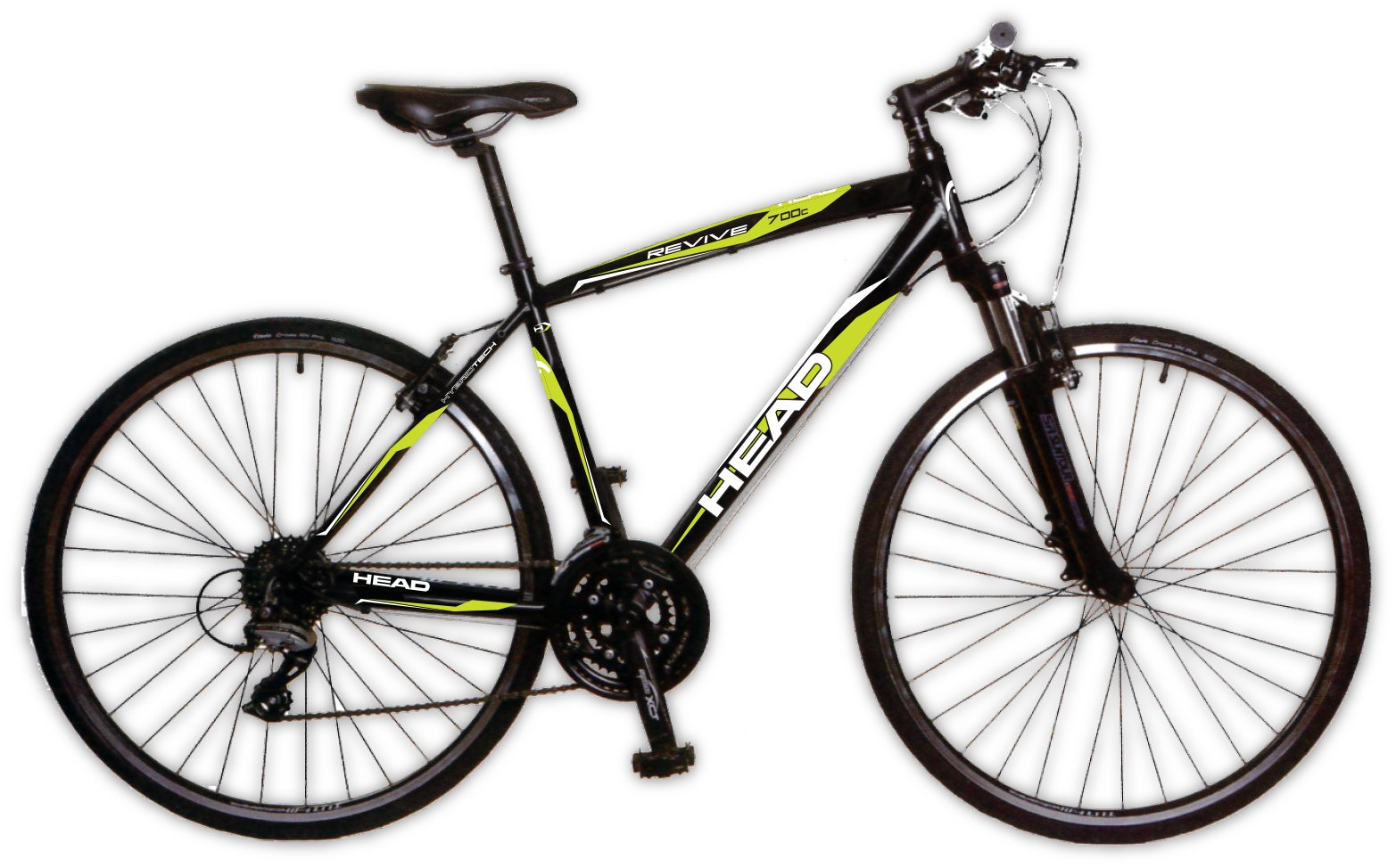 "HEAD Revive XS 24 Speed Men's Hybrid Road Bike Black / Green 22"" Frame"
