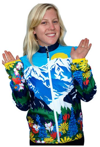 Awesome Mountains And Flowers Womens Cycling Jacket 4XL