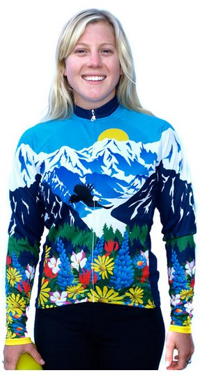 Awesome Mountains and Flowers Womens Long Sleeve Cycling Jersey XL