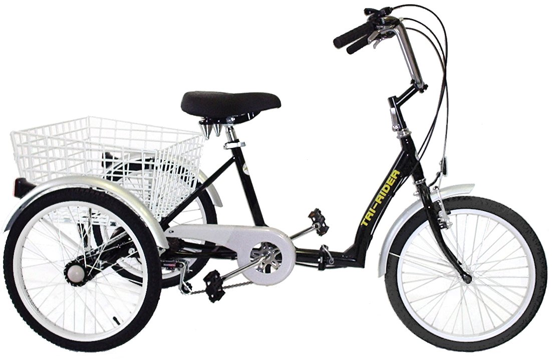"Tri Rider 20"" Folding Adult 6 Speed Low Step Tricycle"