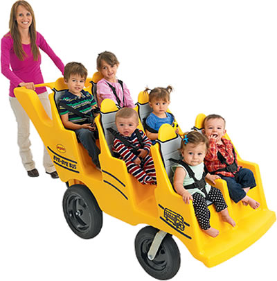 Angeles 6 Seat Bye Bye Bus Never Flat FAT WHEEL Preschool Buggy Yellow