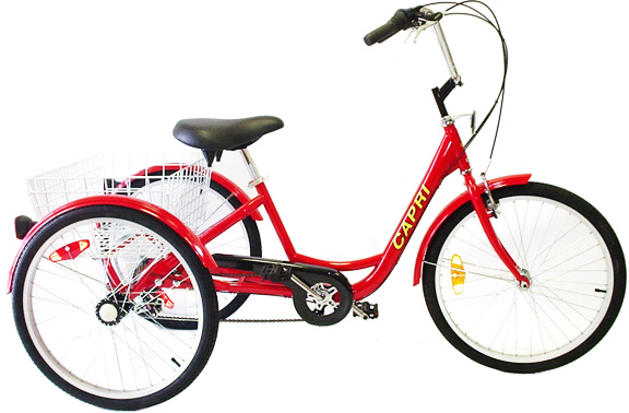 Capri 24 Inch 6 Speed Adult Tricycle With Sloping Frame