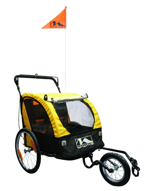 M Wave 2 in 1 Bicycle TrailerJogger Yellow Black