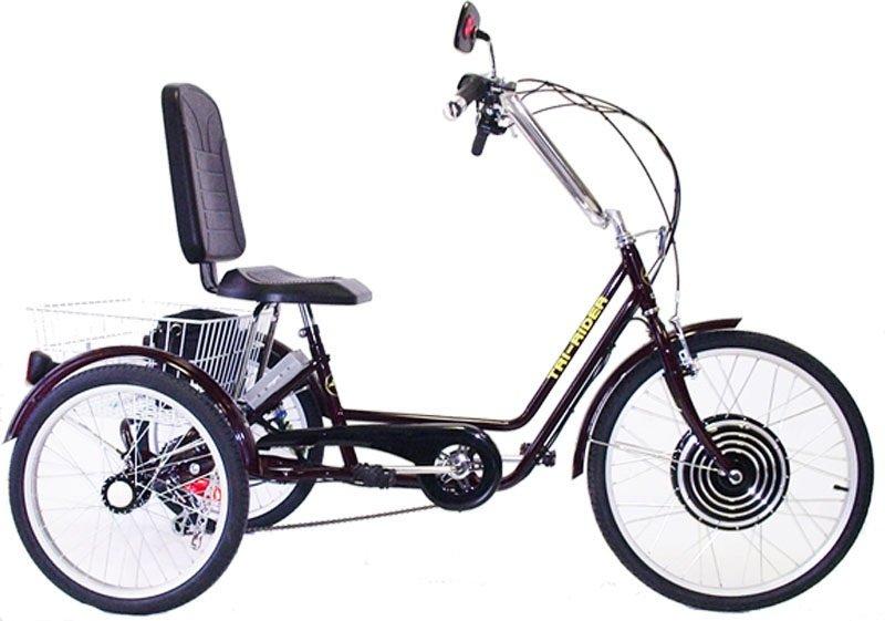 Belize tri rider 24 semi recumbent 6 speed comfort adult for Recumbent bike with electric motor