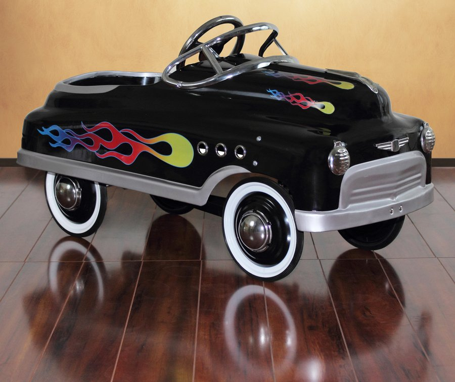 Dexton Black Comet Sedan With Flames Pedal Car