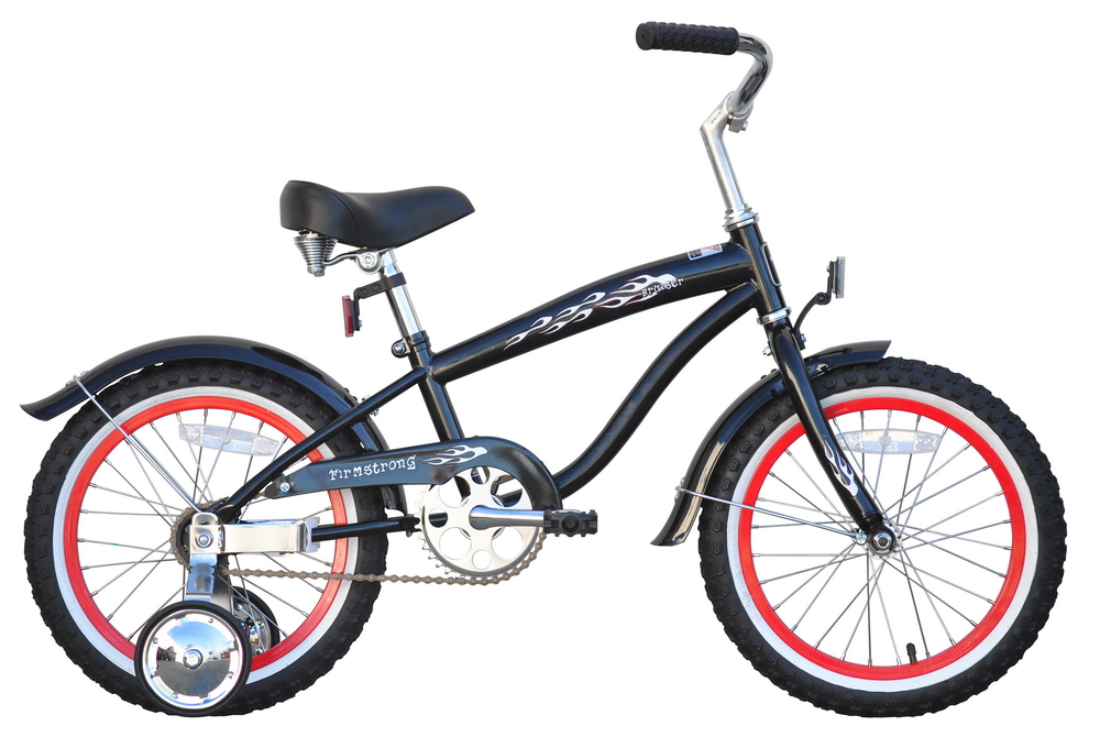"Firmstrong 16"" Bruiser Mini Cruiser Bicycle with Training Wheels"
