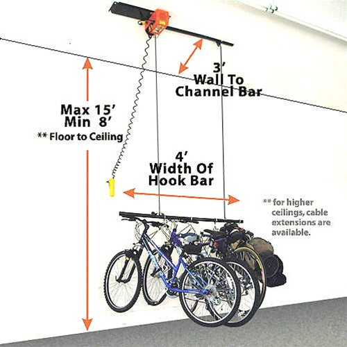 Garage gator small motorized electric bicycle hoist model for Diy motorized pulley system