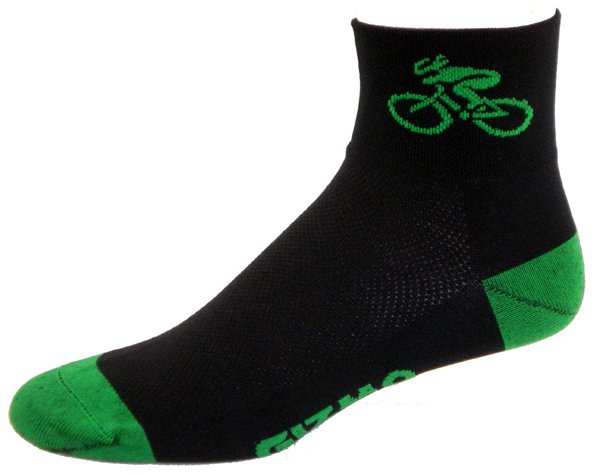 Gizmo Gear Black / Green Bicycle Cycling Socks