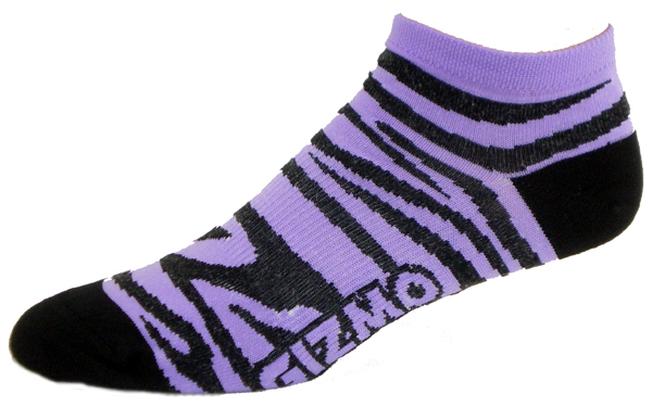 Gizmo Gear Zebra Purple / Black Cycling Socks