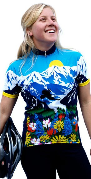 Awesome Mountains and Flowers Womens Cycling Jersey XL