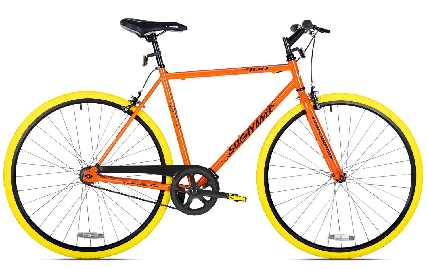 Takara Sugiyama Flat Bar Fixie Bike Neon Orange