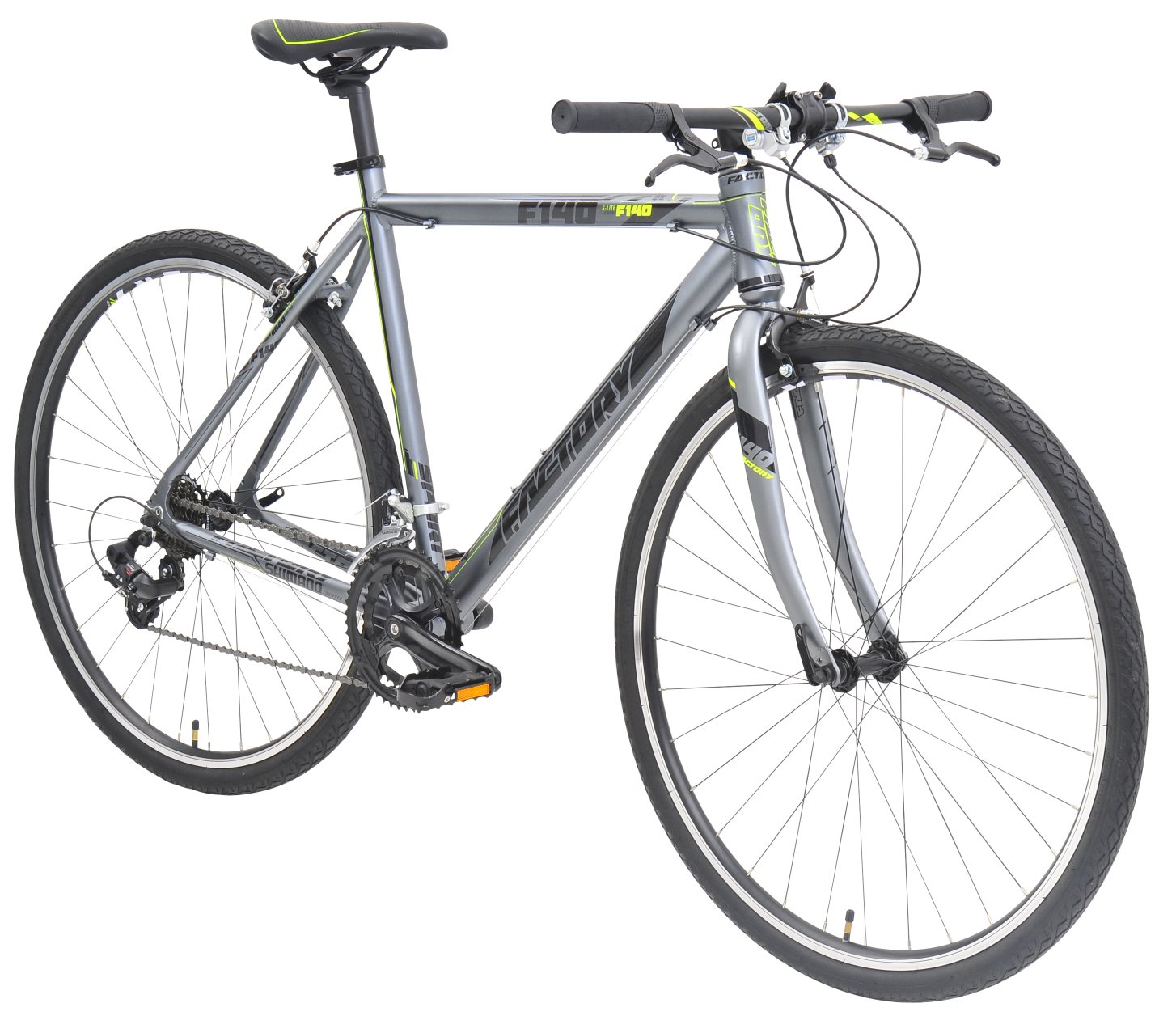 Factory Bicycles F140 Flatbar 14 Speed Road Bike GreyBlack