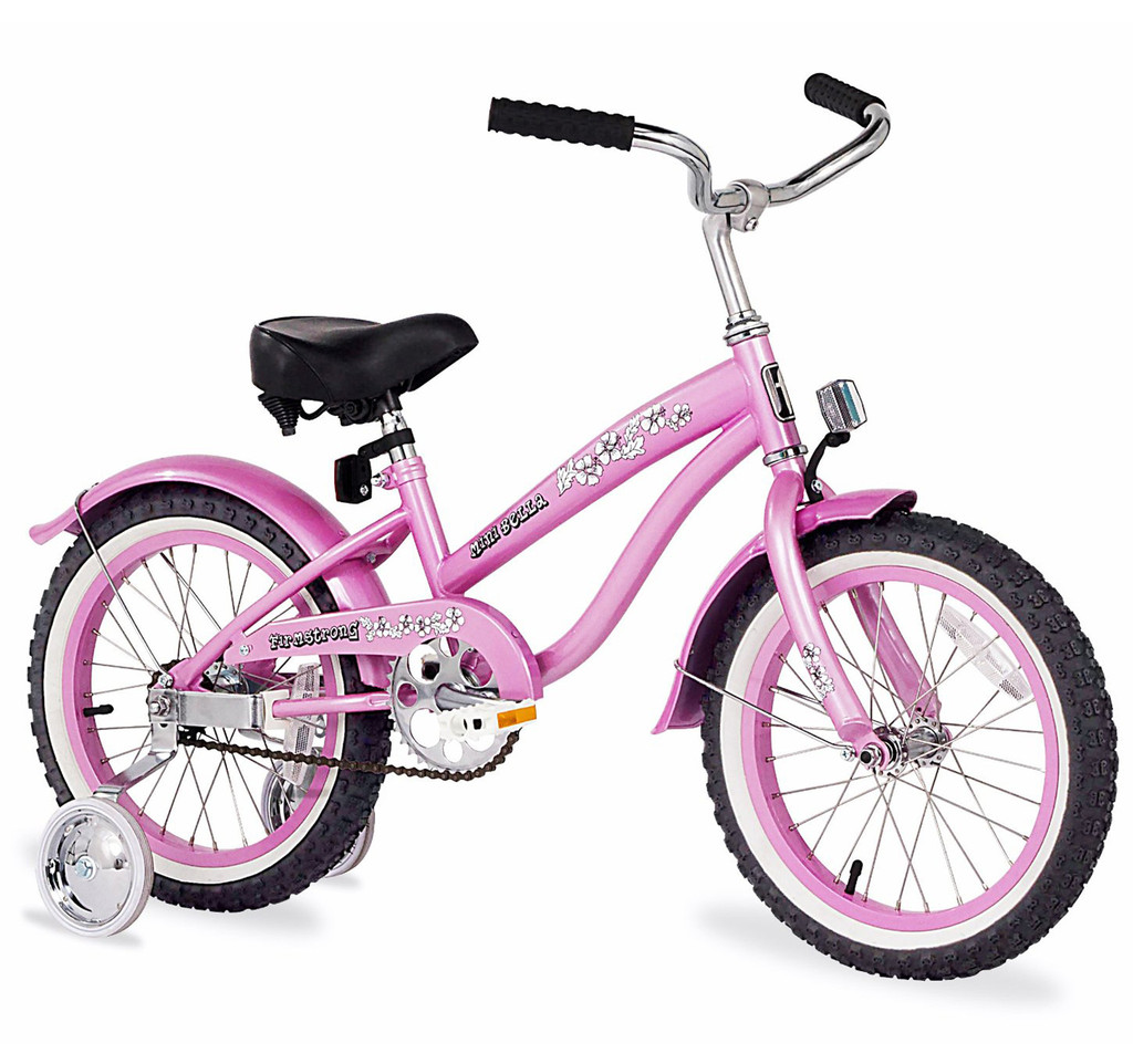 "Firmstrong 16"" Bella Mini Girls Cruiser Bicycle w/ Training Wheels"