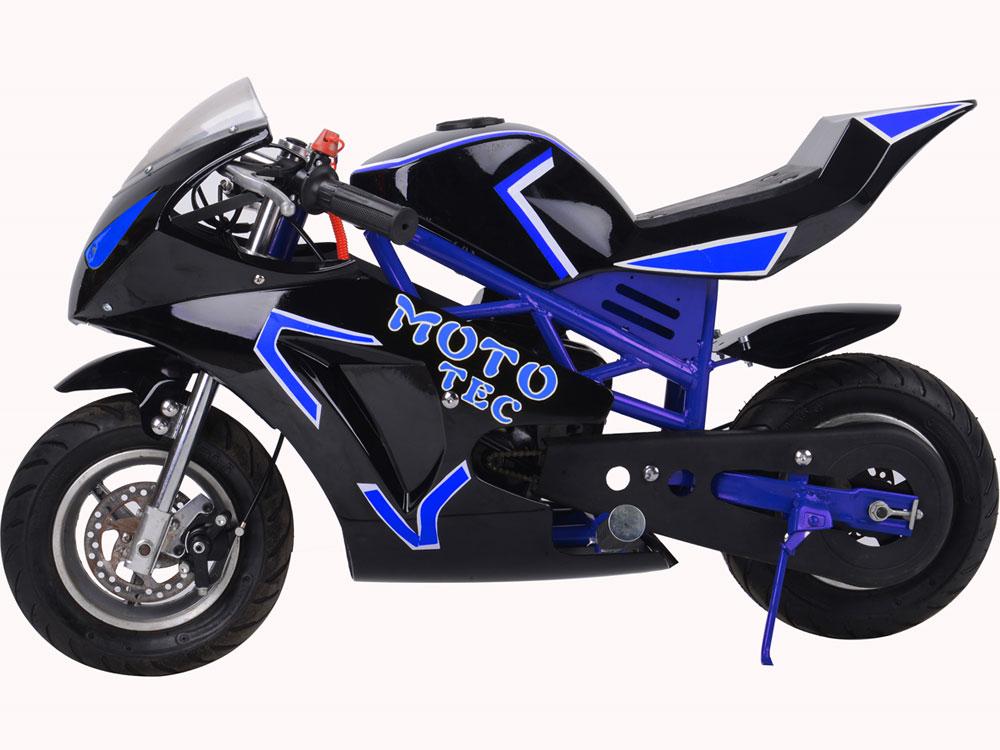 mototec gas pocket bike gt 49cc 2 stroke blue. Black Bedroom Furniture Sets. Home Design Ideas
