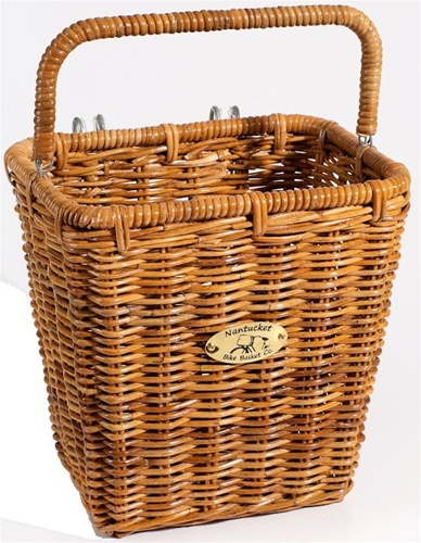 Nantucket Bike Baskets Cisco Rattan Pannier Basket w/ Hooks