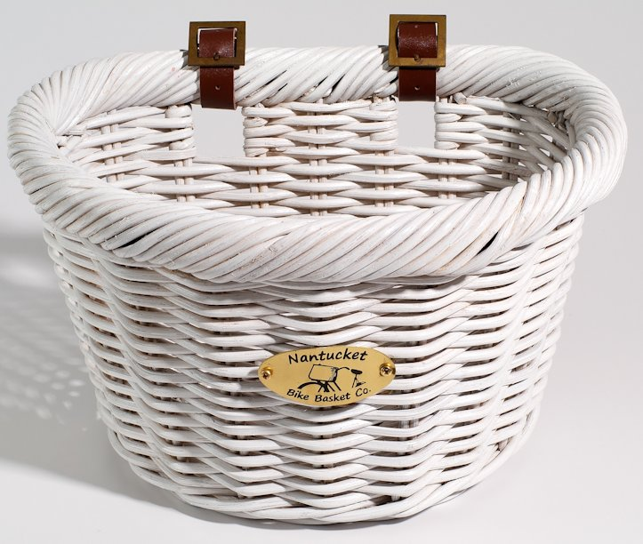 Nantucket D Shape Wicker Adult Bike Basket White