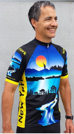 New York Cycling Jersey Blue Medium