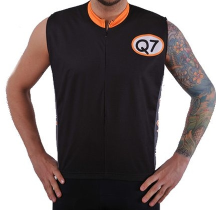 Q7 Mens Relaxed Black Stallion Sleeveless Cycling Jersey