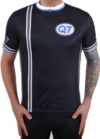 Q7 Mens Short Sleeve Jet Black Cycling Jersey