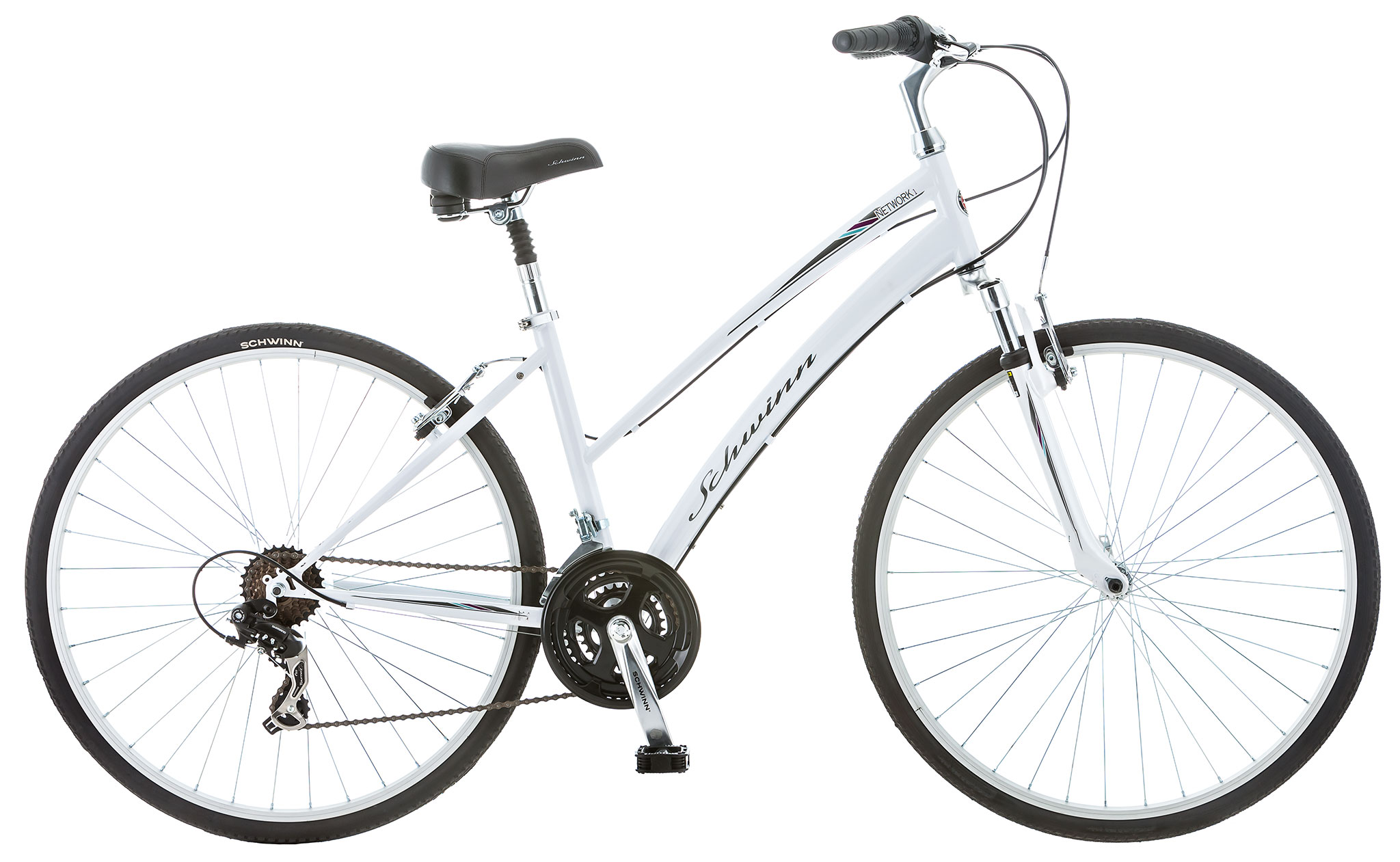 Schwinn Network 1.0 Women's 21 Speed Hybrid City Bike White
