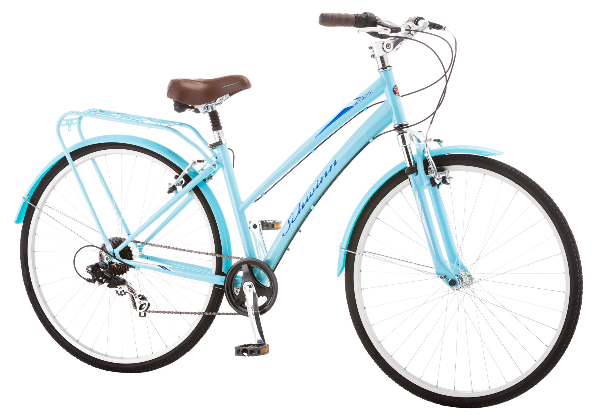 Schwinn Network 20 Womens 7 Speed Hybrid City Bike Light Blue