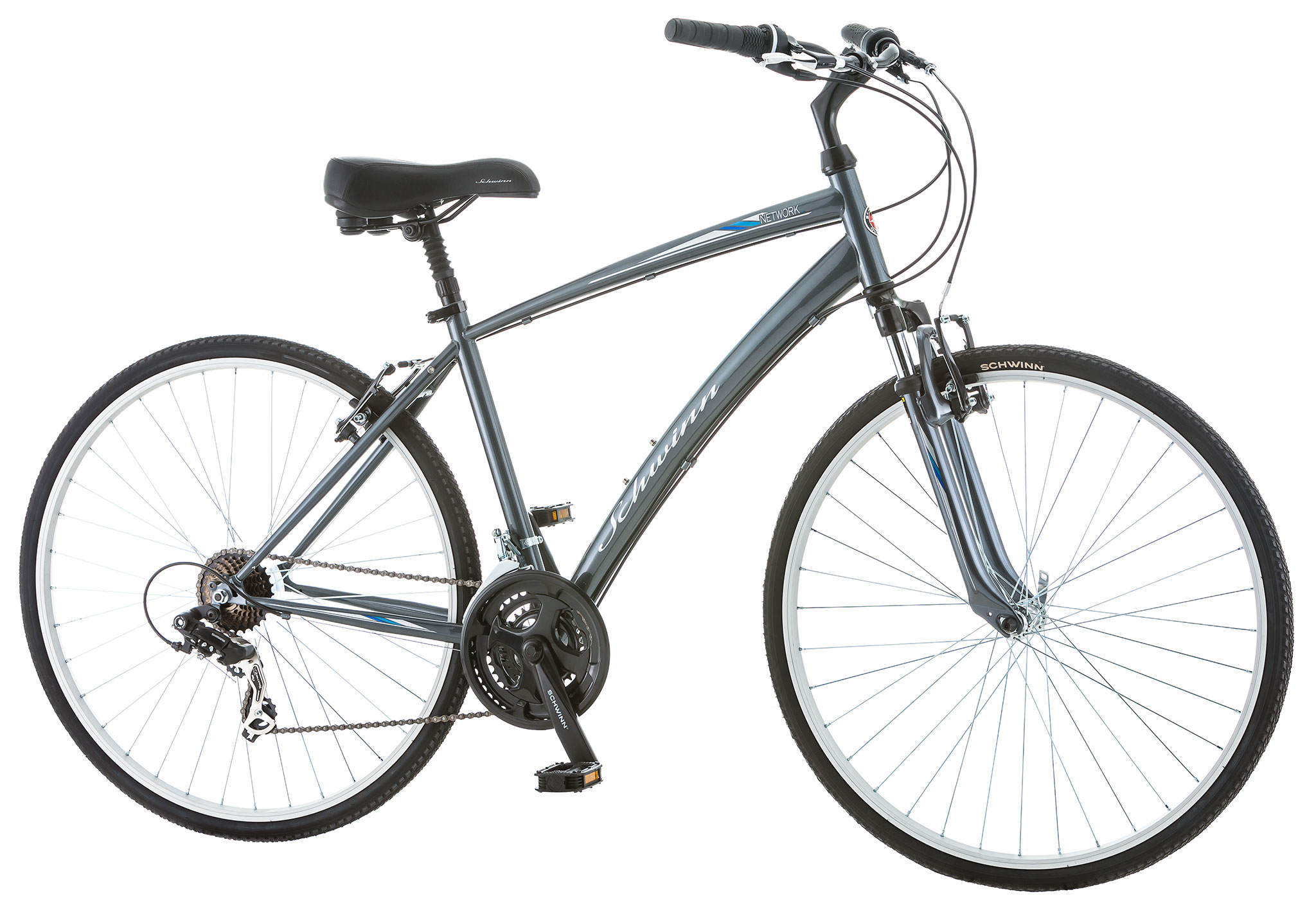 Schwinn Network 10 Mens 21 Speed Hybrid City Bike Gray