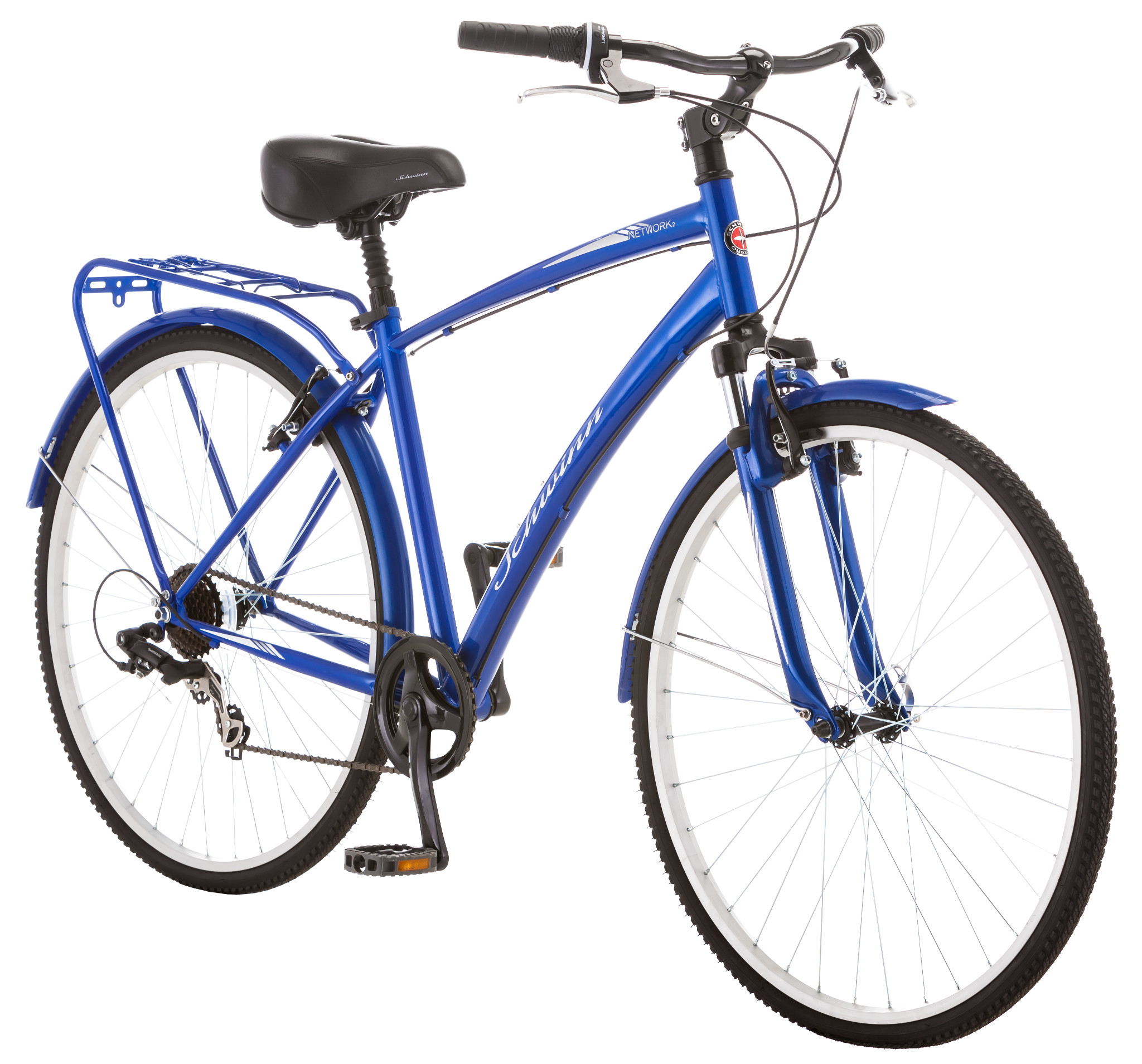 Schwinn Network 2.0 Men\'s 7 Speed Hybrid City Bike - Blue