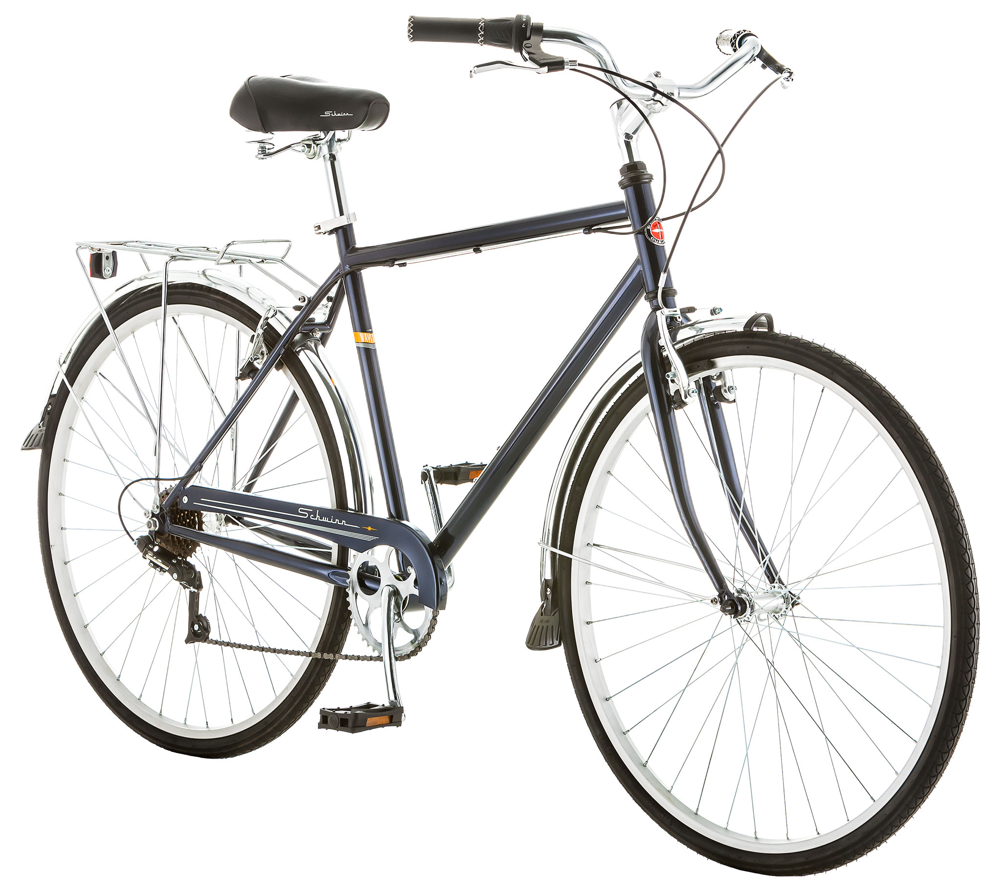 Schwinn Wayfarer Men's 7 Speed Retro Style City Bike Navy Blue