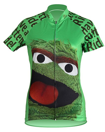 Brainstorm Gear Oscar the Grouch Womens Cycling Jersey Sesame Medium
