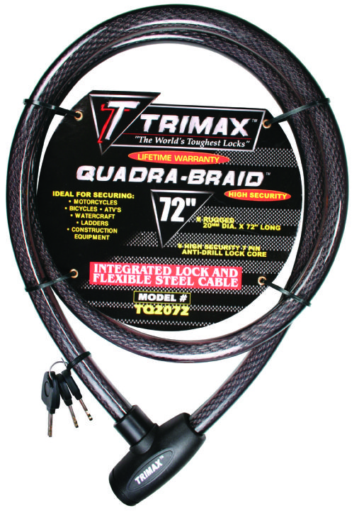 "Trimax 72"" Quadra Braid Integrated Keyed Cable and Lock"