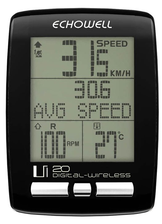 Echowell IU20 Wireless Bicycle Computer with Cadence Black