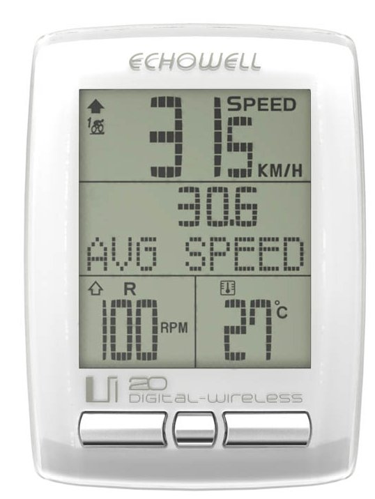 Echowell IU20 Wireless Bicycle Computer with Cadence White