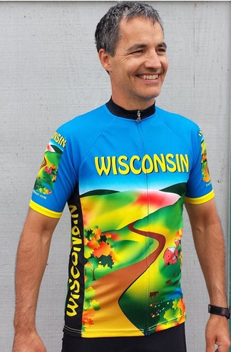 Wisconsin Cycling Jersey Blue Medium